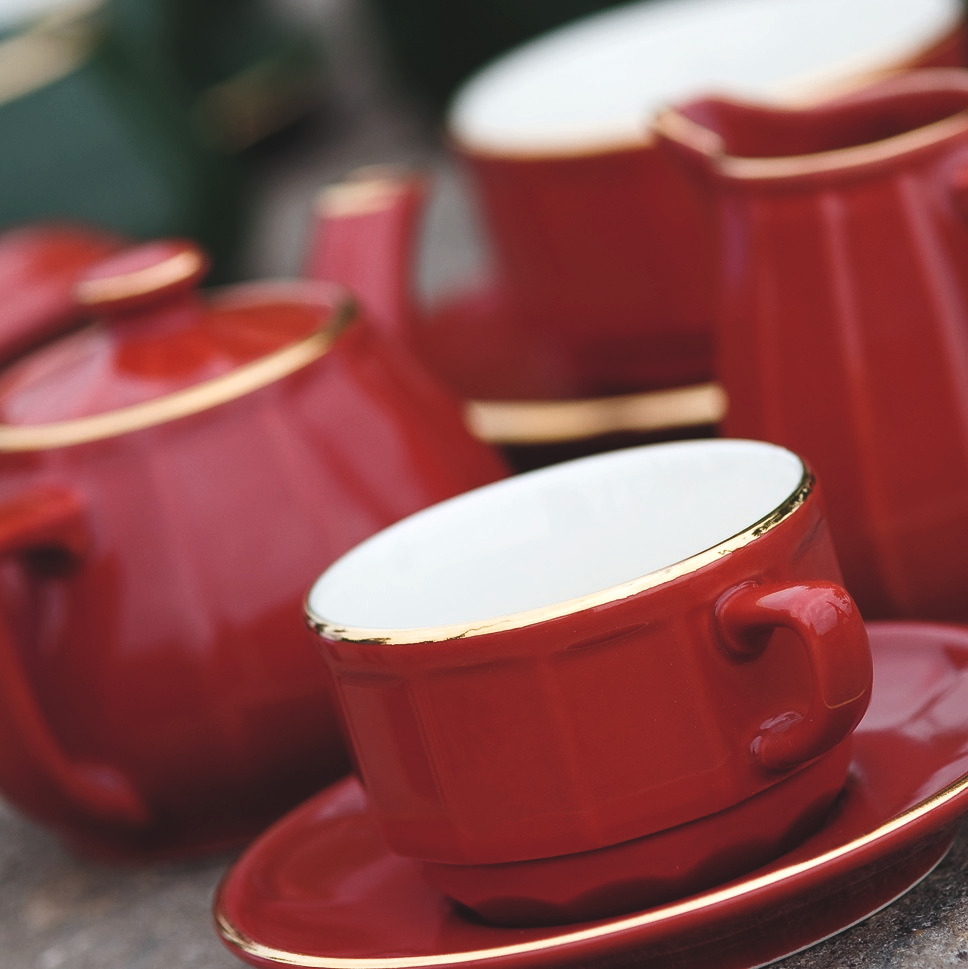 Red with Gold Band Moka Cup and Saucer, set of 6