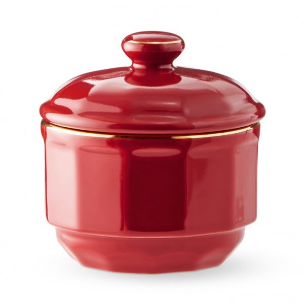 Red with Gold Band Sugar Bowl