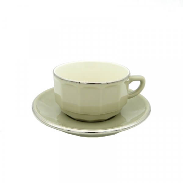 Taupe with Platinum Band Lunch Cup and Saucer, set of 6