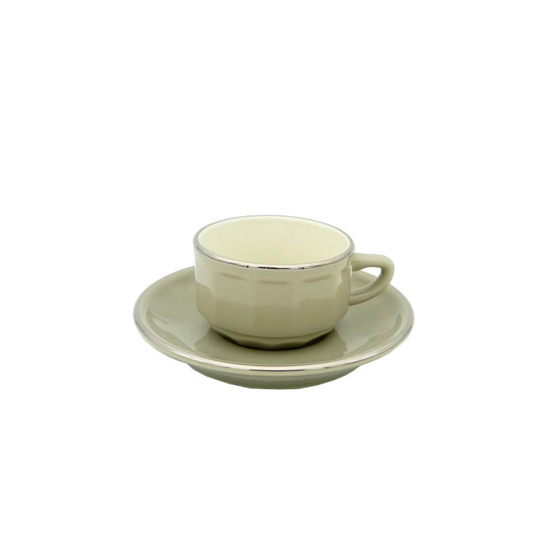 Taupe with Platinum Band Mocha Cup and Saucer, Set of 6