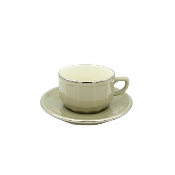 Taupe with Platinum Band Tea Cup and Saucer, Set of 6
