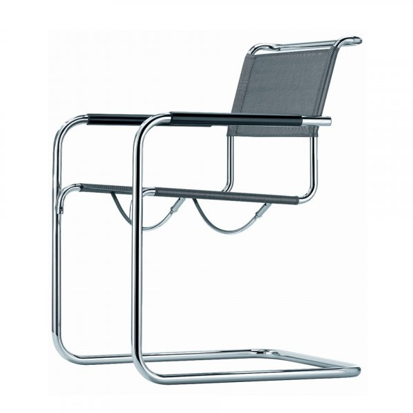 Cantilever Armchair in Steel Frame and Leather S34 N