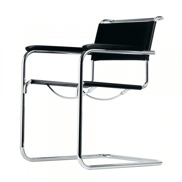 Cantilever Armchair in Steel Frame and Black Leather S34