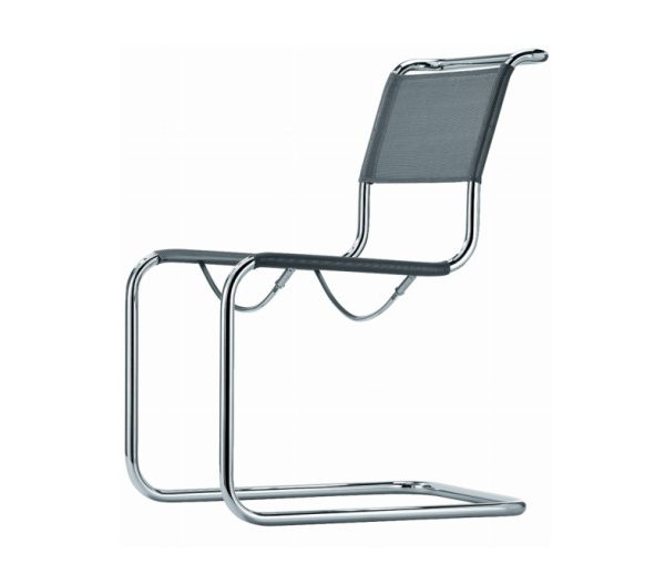 Cantilever Chair in Steel Frame and Silver Leather S33 N
