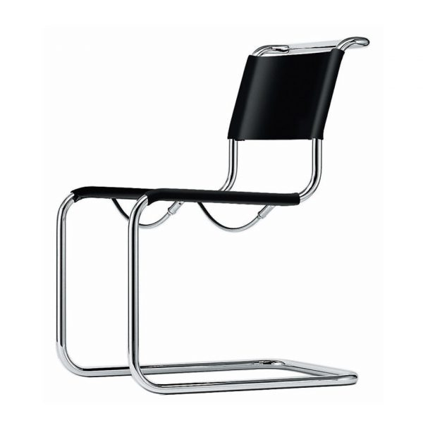 Cantilever Chair in Steel Frame and Black Leather S33