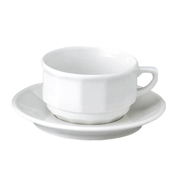 White Apilco Flora Tea Cup and Saucer, set of 6