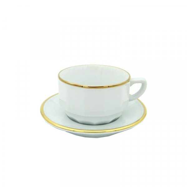 White with Gold Band Chocolate Cup and Saucer, set of 6