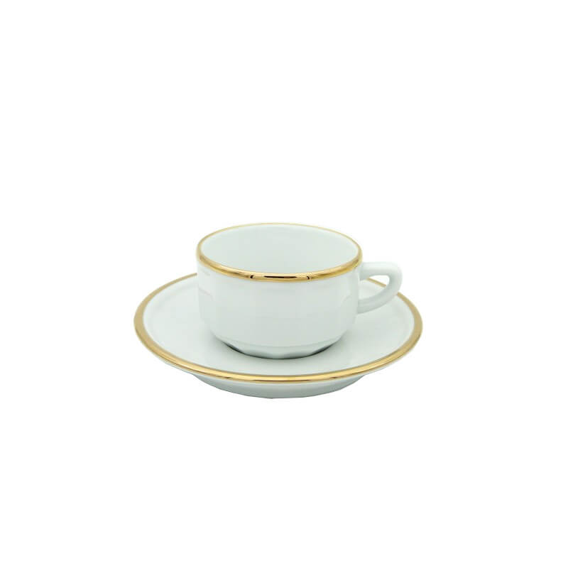 White with Gold Band Moka Cup and Saucer, set of 6