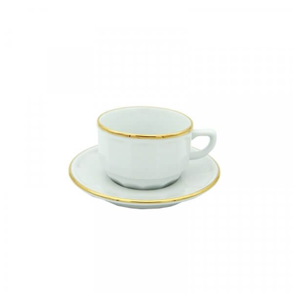 White with Gold Band Tea Cup and Saucer, set of 6