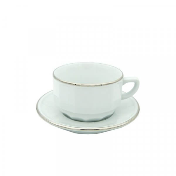 White with Platinum Band Chocolate Cup and Saucer, set of 6