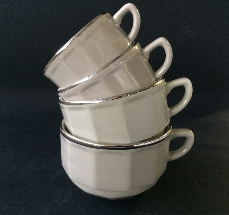 White with Platinium Band Moka Cup and Saucer, set of 6
