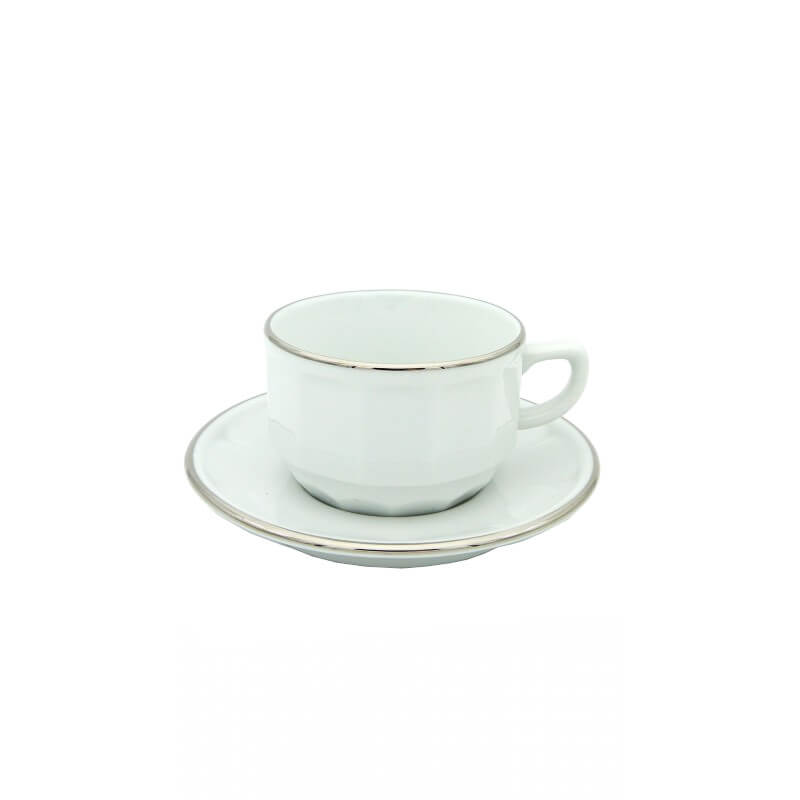 White with Platinum Band Tea Cup and Saucer, set of 6
