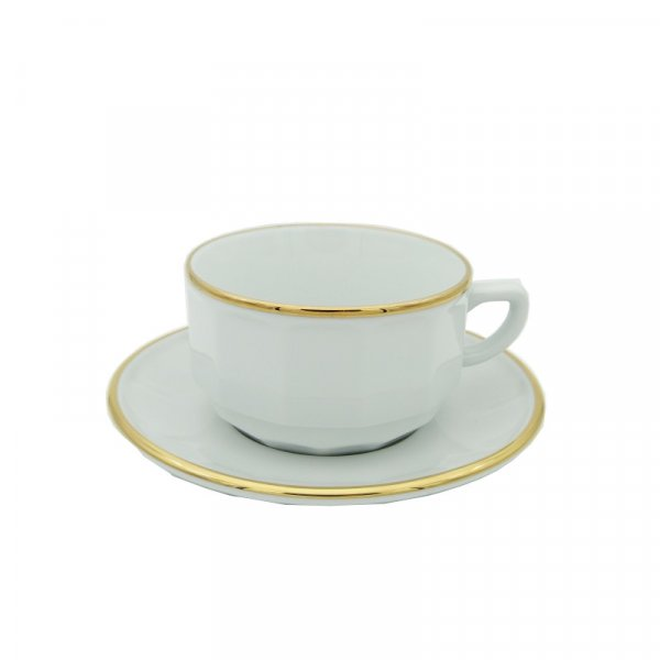 White with Gold Band Lunch Cup and Saucer, set of 6