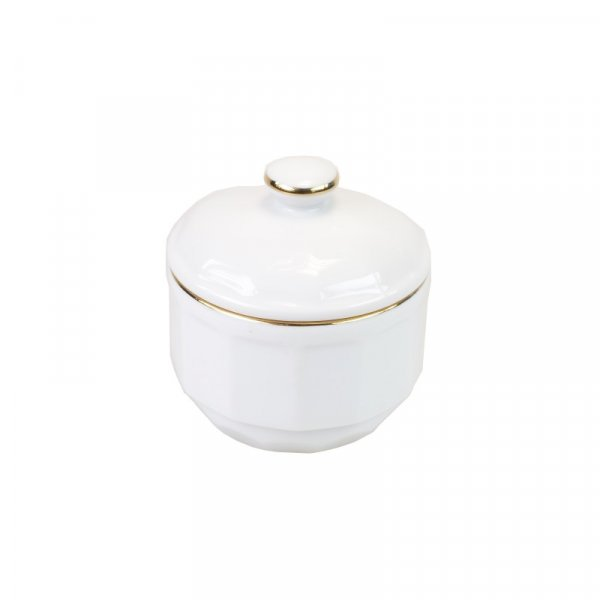 White with Gold Band Sugarpot
