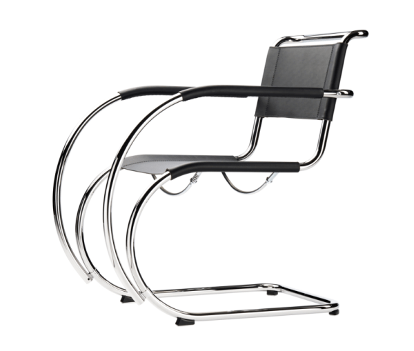 Tubular Steel Cantilever Chair in Black Leather S 533 LF