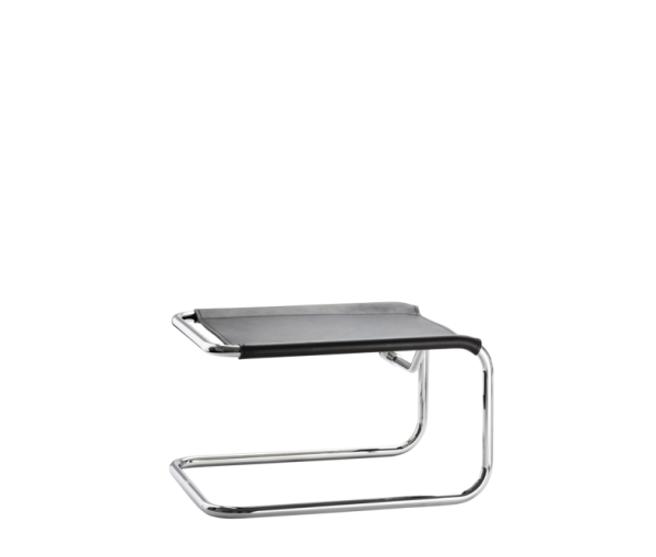 Tubular Steel Stool in Black Leather S 35 LH