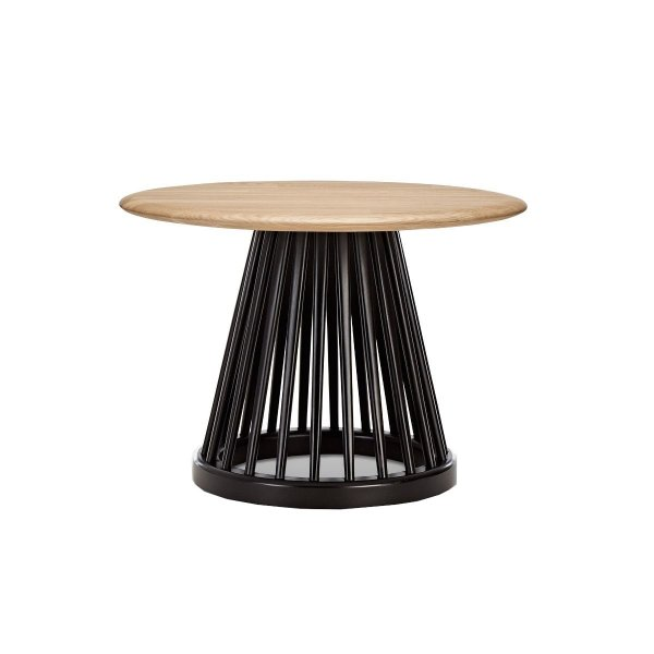 Fan Table Black Base Natural Oak Top