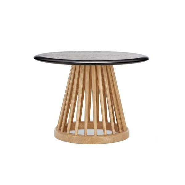 Fan Table Natural Base Black Oak Top
