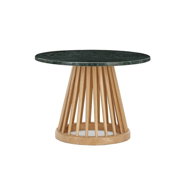 Fan Table Natural Base Green Marble Top