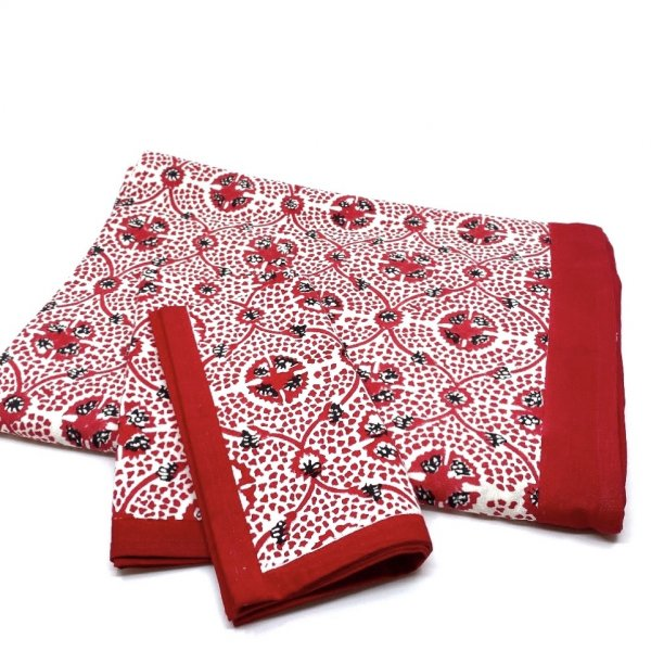 Carolina Irving and Daughters Red Tile Tablecloth