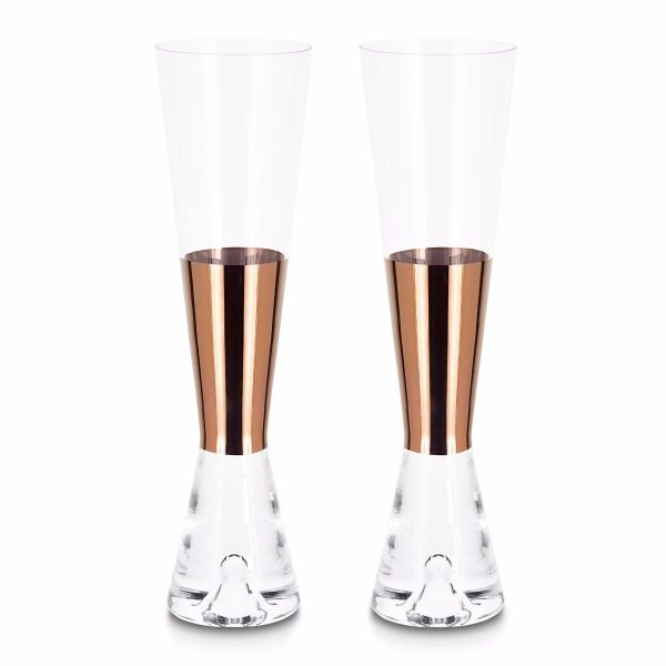 Tank Champagne Glasses Copper, Set of 2