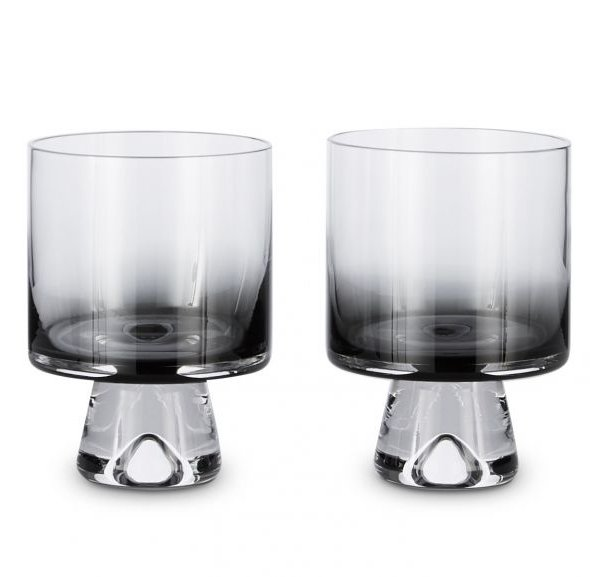 Tank Low Ball Glasses Black, Set of 2