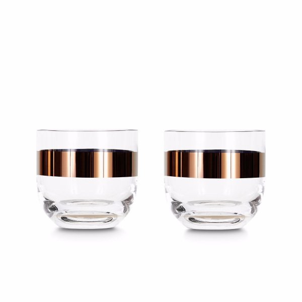 Tank Whiskey Glasses Copper, Set of 2