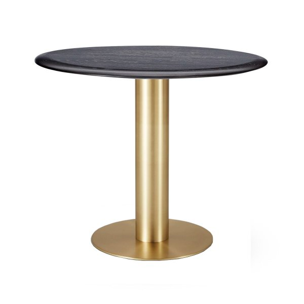 Tube Dining Table Brass Black Oak Top 900mm