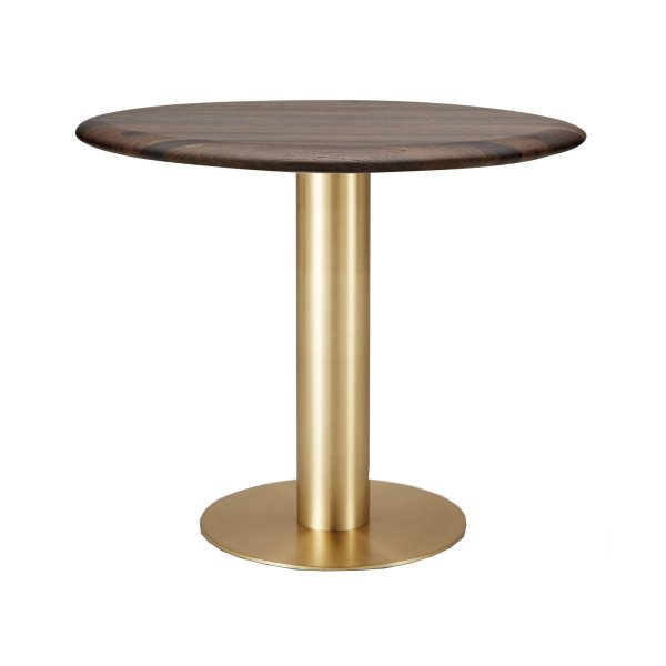 Tube Dining Table Brass Fumed Oak Top 900mm