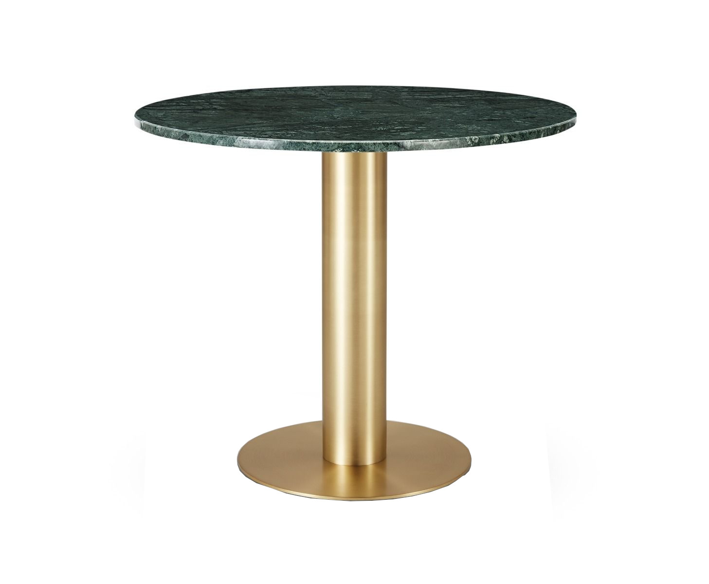 Tube Dining Table Brass Green Marble Top 900mm