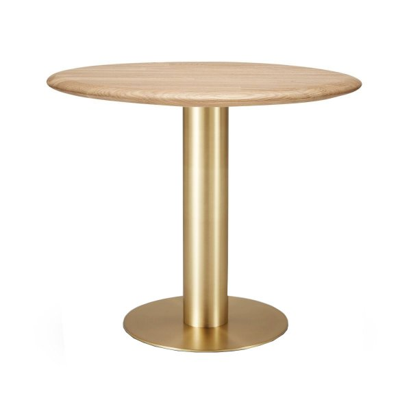 Tube Dining Table Brass Natural Oak Top 900mm