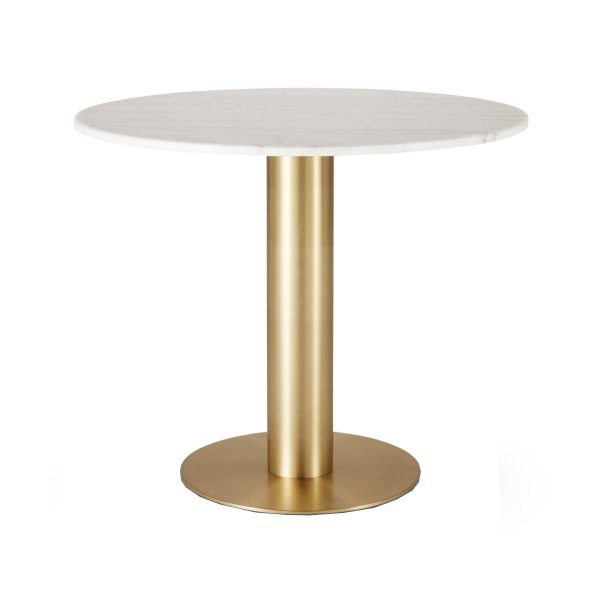 Tube Dining Table Brass White Marble Top 900mm