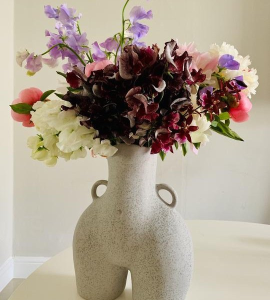 Grey Speckled Love Handles Vase