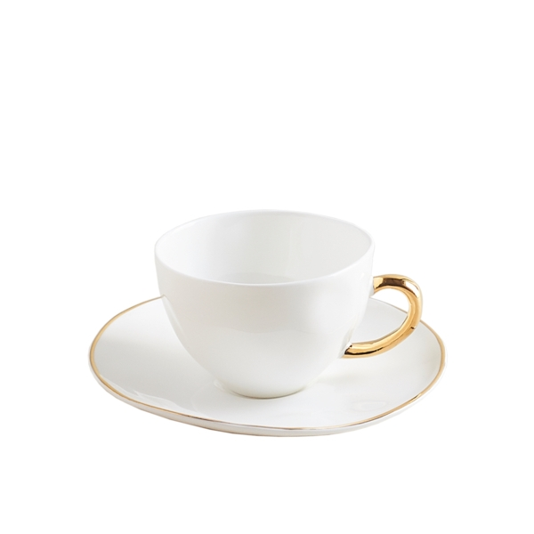Gold Teacup & Saucer, Set of 6