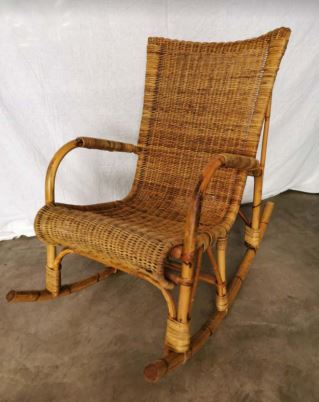 Vintage Wicker Rocking Chair from the 50's