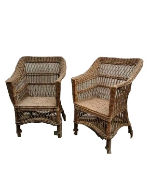 Vintage Wicker Armchairs, Set of 3