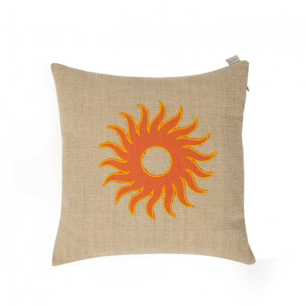 Orange Embroidered Vintage Linen Cushion