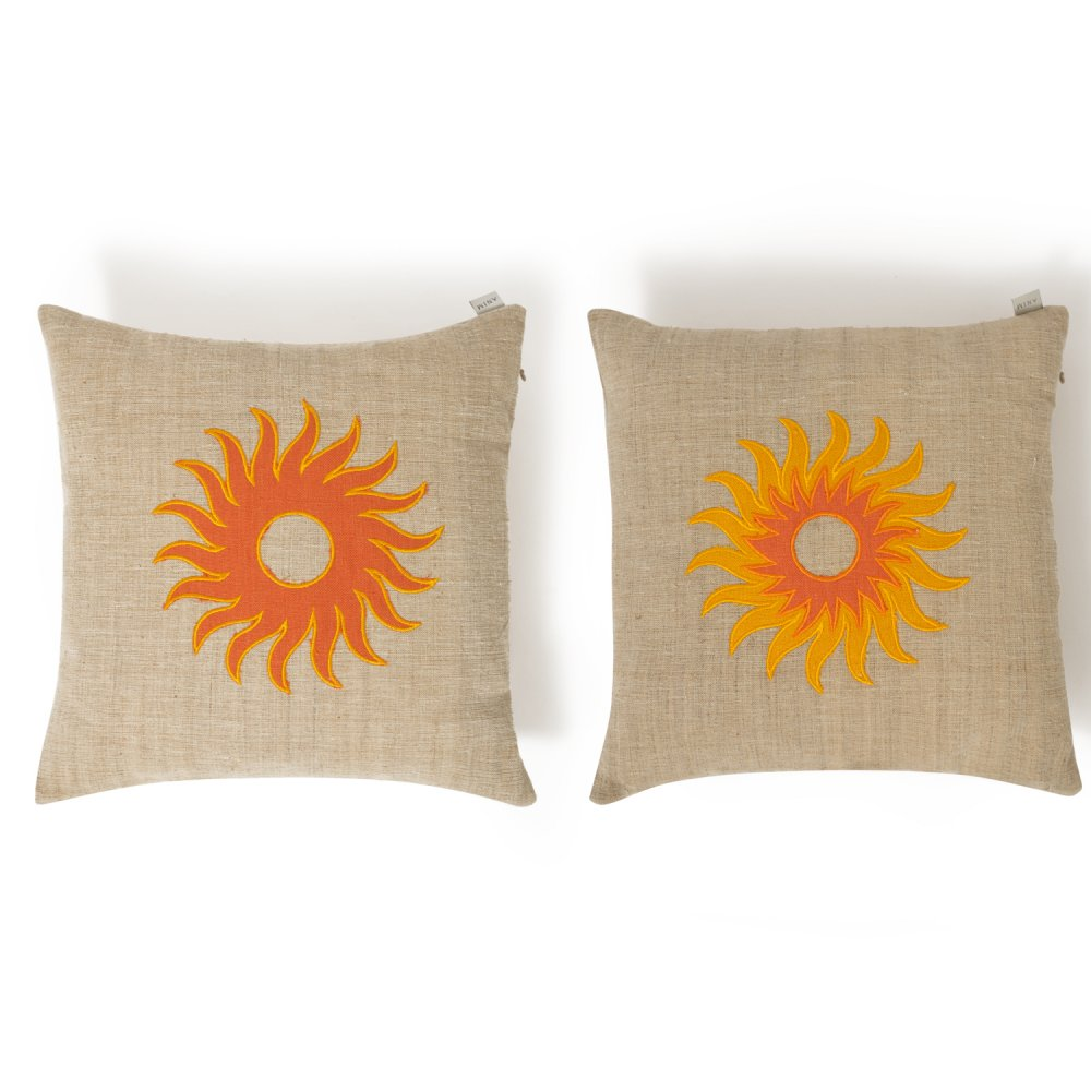 Yellow Embroidered Vintage Linen Cushion
