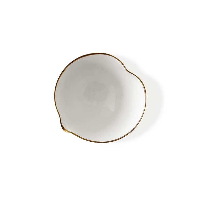 Heart Bowl with Gold Rim