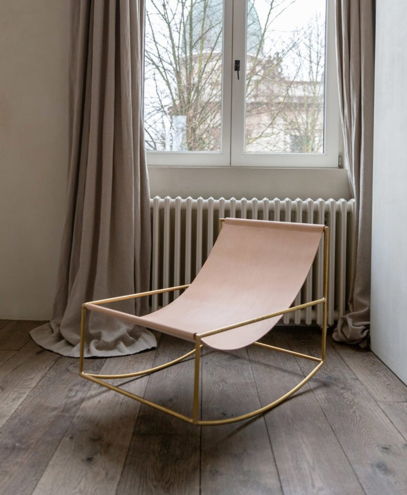 Leather Rocking Chair with Brass Frame