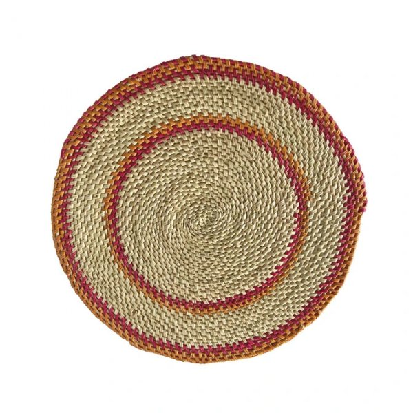 Private: Pink/Orange & Natural Hand Woven Straw Placemat