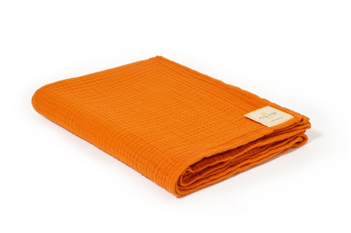 Sunrise Orange Fluffy Cotton Throw