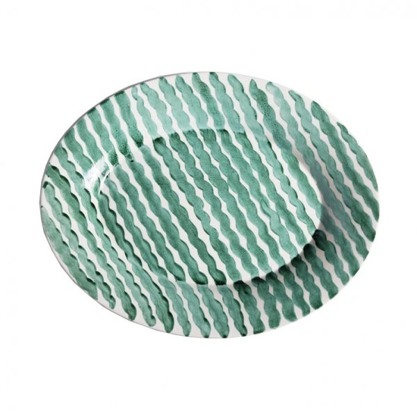 Green Squiggle Serving Platter