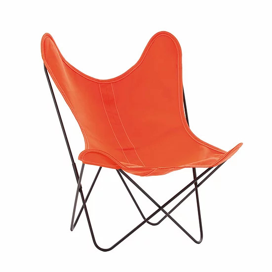 Armchair with Orange Cotton Cover