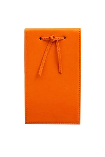 Leather Telephone Pad Orange