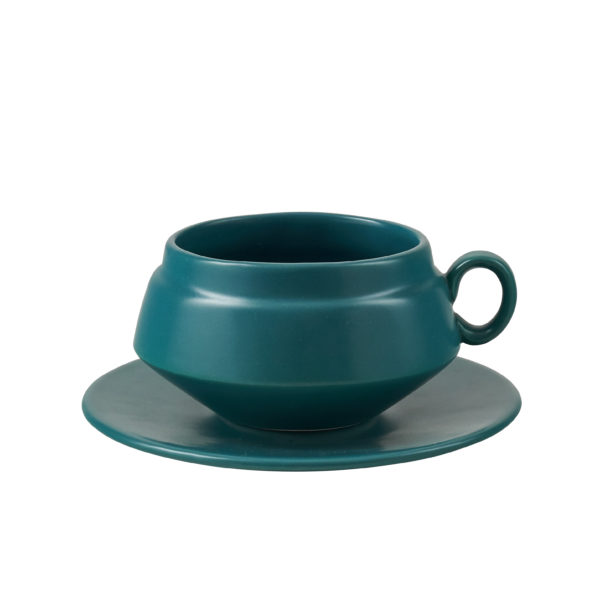 Matt Green Ceramic Teacup and Saucer