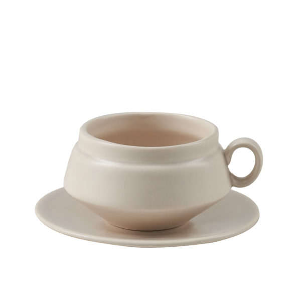 Matt Grey Ceramic Teacup and Saucer