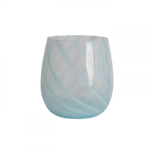 Baby Blue Short Candy Swirl Handblown Italian Glass