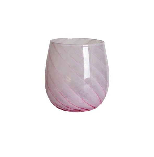 Baby Pink Short Candy Swirl Handblown Italian Glass