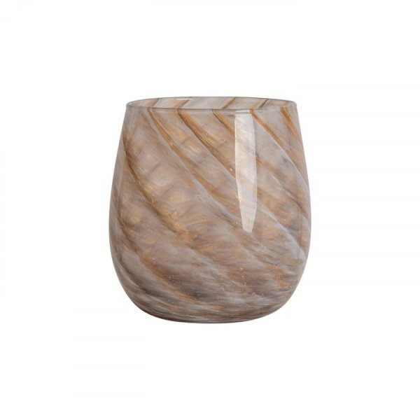 Brown/Beige Short Candy Swirl Handblown Italian Glass